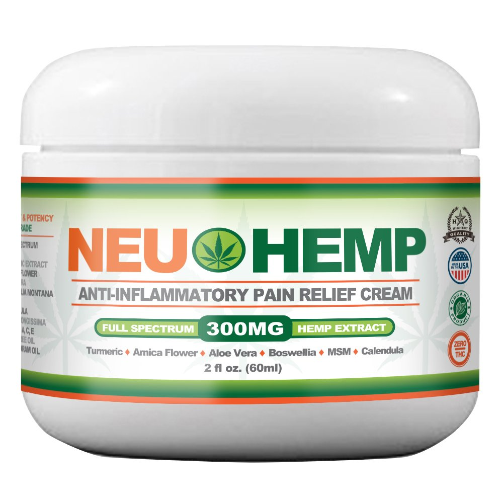 Organic Pain Relieving with 300mg Full Spectrum Hemp Extract Cream for Sunburn Skin Nerve Damage Relief Support Knee Joint Lower Back Neck Muscle Oil Turmeric Arnica MSM Boswellia 2oz