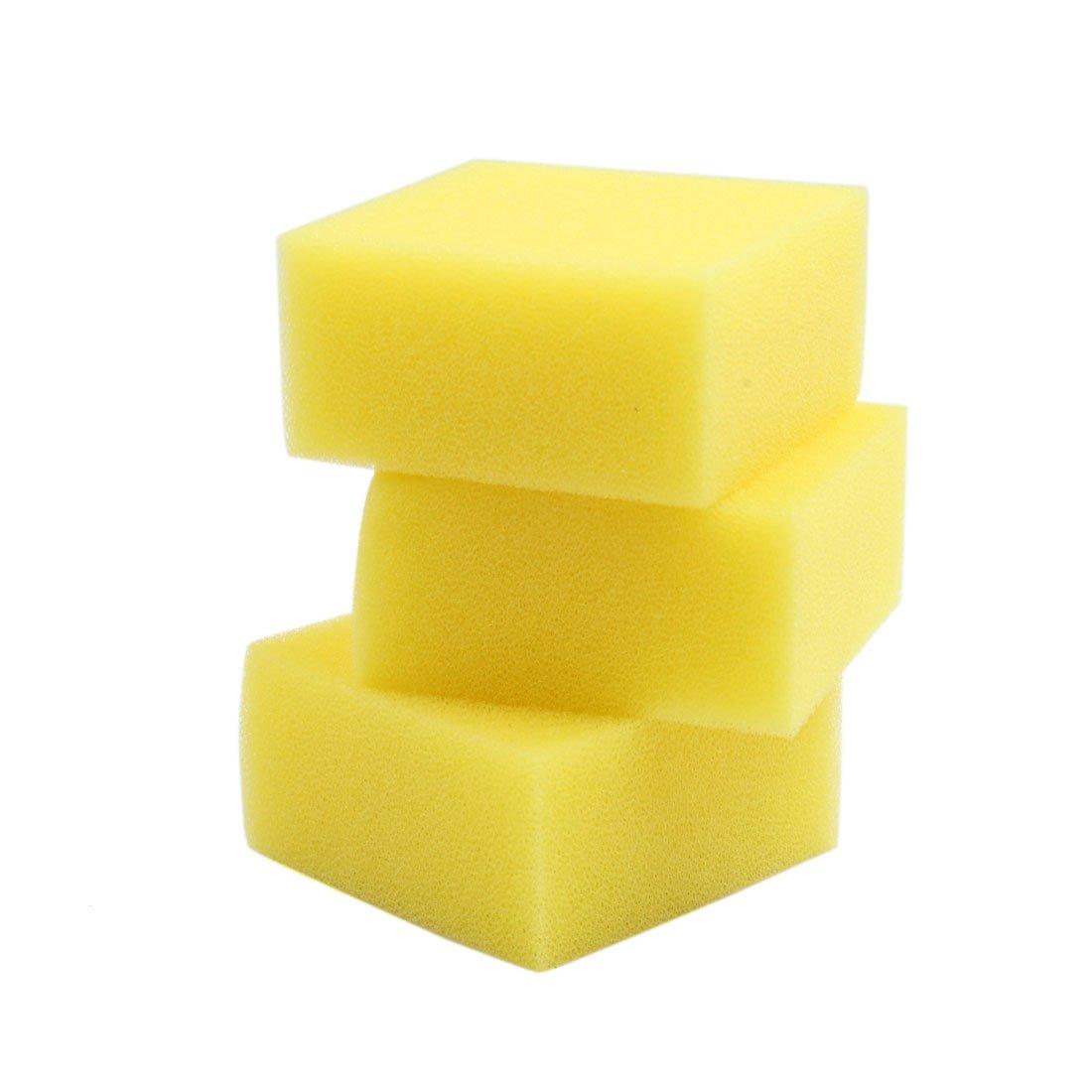 Uxcell® 3 Pcs 3.74x3.74x1.77 Inch Yellow Filter Cartridge Sponge Replacement for Aquarium
