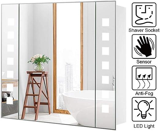 Warmiehomy - Armario de pared con espejo LED para baño (con espejo ...