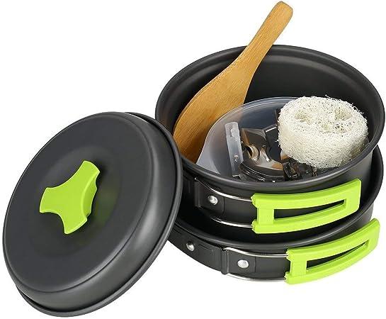InLoveArts Juego de Utensilios de Cocina para Camping Ollas Accesorios para Excursión/Acampada/Senderismo 13 Piezas: Olla (con Tapa), Sartén,Tenedor y ...