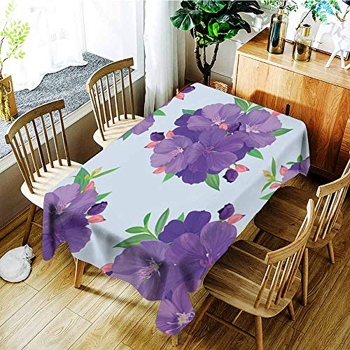 AGONIU Large Rectangular Tablecloth,Seamless Pattern with Beautiful Purple Princess Flower or tibouchina urvilleana and Leaf on Blue Background,Fashions Rectangular,W50x80L
