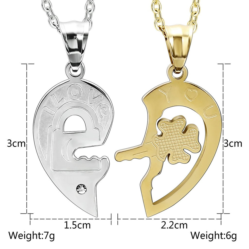 Epinki Stainless Steel Couple Necklace Matching Heart Puzzle I Love You