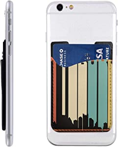 Card Holder for Back of Phone -Retro 1970s Pittsburgh Pennsylvania Downtown Skyline Silicone Stick On Cell Phone Wallet with Pocket for Credit Card, ID, Business Card