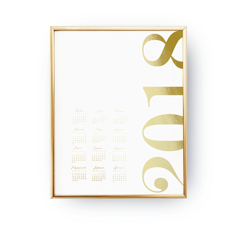 2018 Gold Calendar, Wall Hanging, Hand Lettered Calligraphy, Real Gold Foil Print, Wall Calendar, Minimal Handwritten, Christmas Gift.