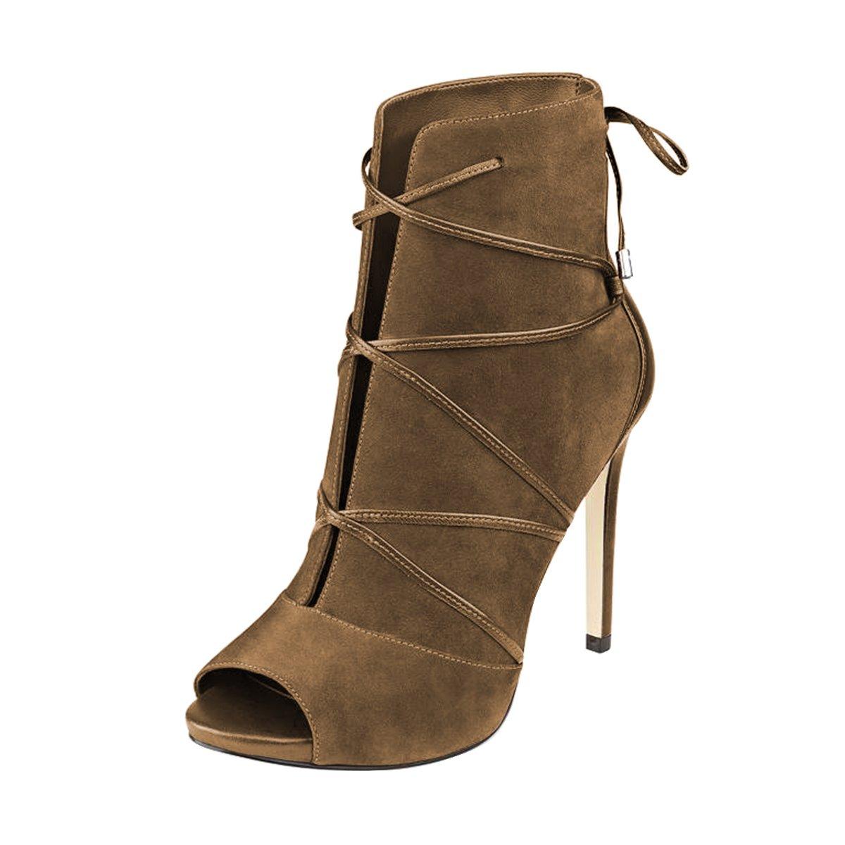 FSJ Women Peep Toe Ankle Booties Platform Stiletto Heels Lace up Cutout Comfort Shoes Size 12 Brown
