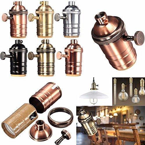 BXROIU 4 X Retro Lamp Holder E27 Edison Screw Light Bulb Socket Lamp Holder Pendant Light Adaptor with Switch (Rose Gold)