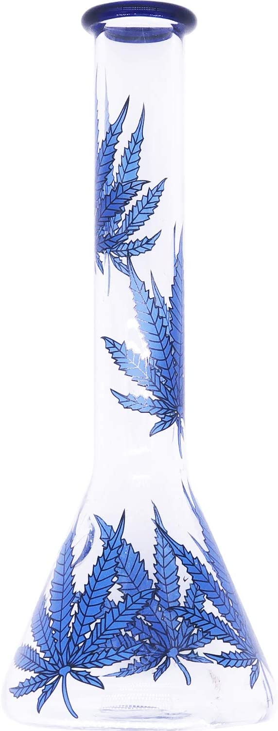 Glass Big Water Chamber Clearer Perfect Blue Leaf Effect,Natural Blue Leaf Snake Eyebrow Copper Fish Upgrade Pipe Handmade Glass Crafts