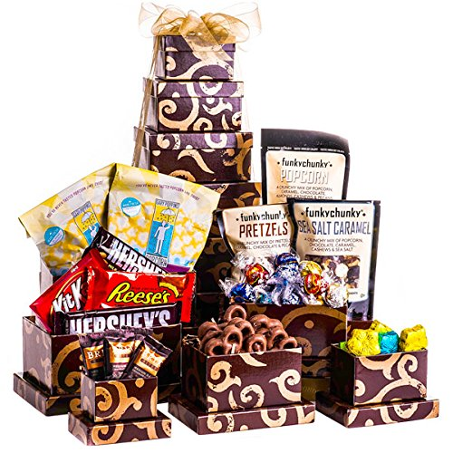 - Snack and Sweets Gift Holiday Tower Popcorn Pretzels Nuts Hershey 5 Star