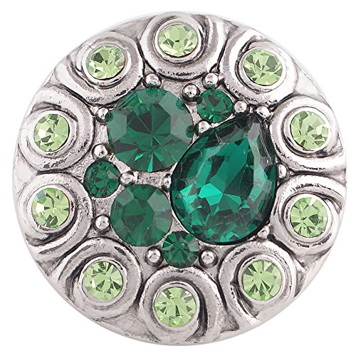 - Chunk Snap Charm Emerald Green and Peridot Stones 20mm 3/4
