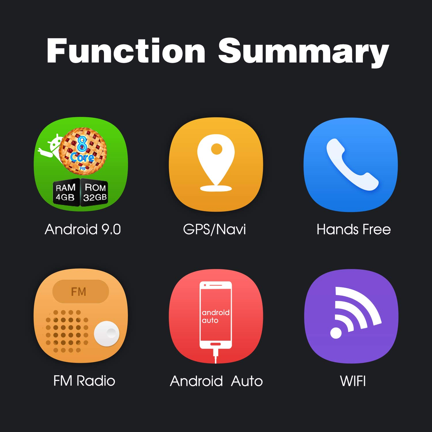 Android Auto Support Fastboot Backup Camera GPS and WiFi USB SD PUMPKIN Android 9.0 Car Stereo Double Din with 4GB 7 Inch Touch Screen