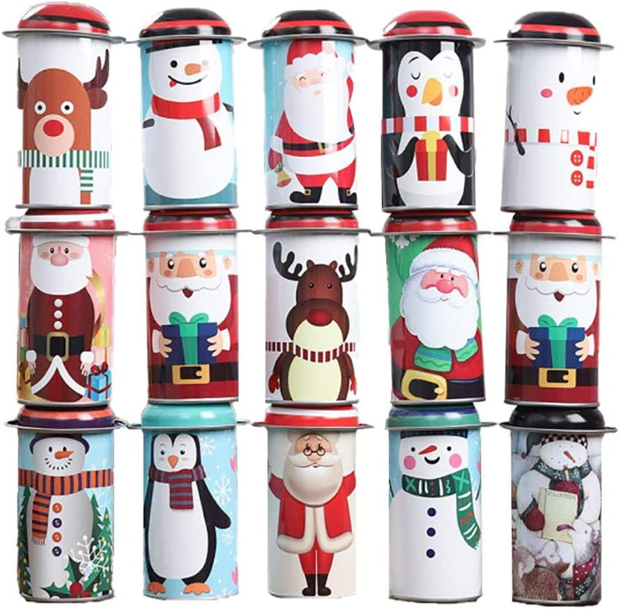 LAMEIDA 10 Pack Christmas Candy Jars 11.5x5.5cm Round Tin Box With Creative Hat Christmas Elements Pattern Biscuits Chocolate Can for Kids Party Favours Random Style