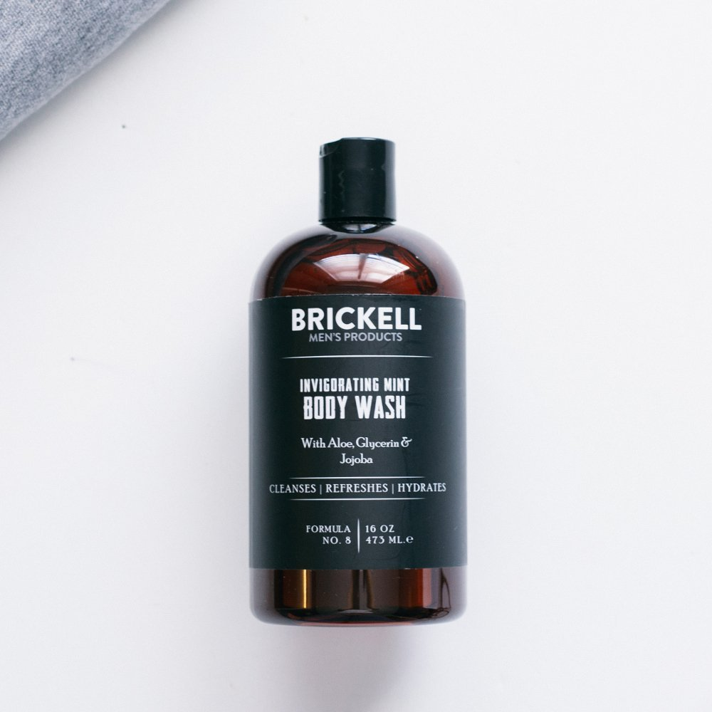 Brickell Men s Invigorating Mint Body Wash for Men, Natural and Organic Deep Cleaning Shower Gel with Aloe, Glycerin, and Jojoba, Sulfate Free, 16 Ounce, Scented