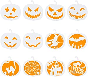Biubee 12pcs Halloween Pumpkin Theme Stencils Set- Plastic DIY Decorative Drawing Templates Reusable for Card Craft Painting Spraying on Door Window Car Wood Airbrush Wall Art Journaling Scrapbooking