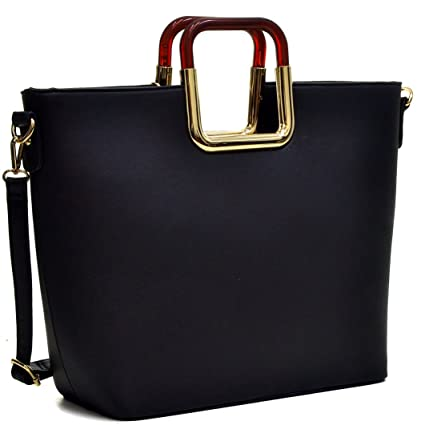 9698e1e6a43e Buy MKY Extra Large Tote Bag Square Handle Designer Purse Faux Leather  w Removable Shoulder Strap Black Online at Low Prices in India - Amazon.in