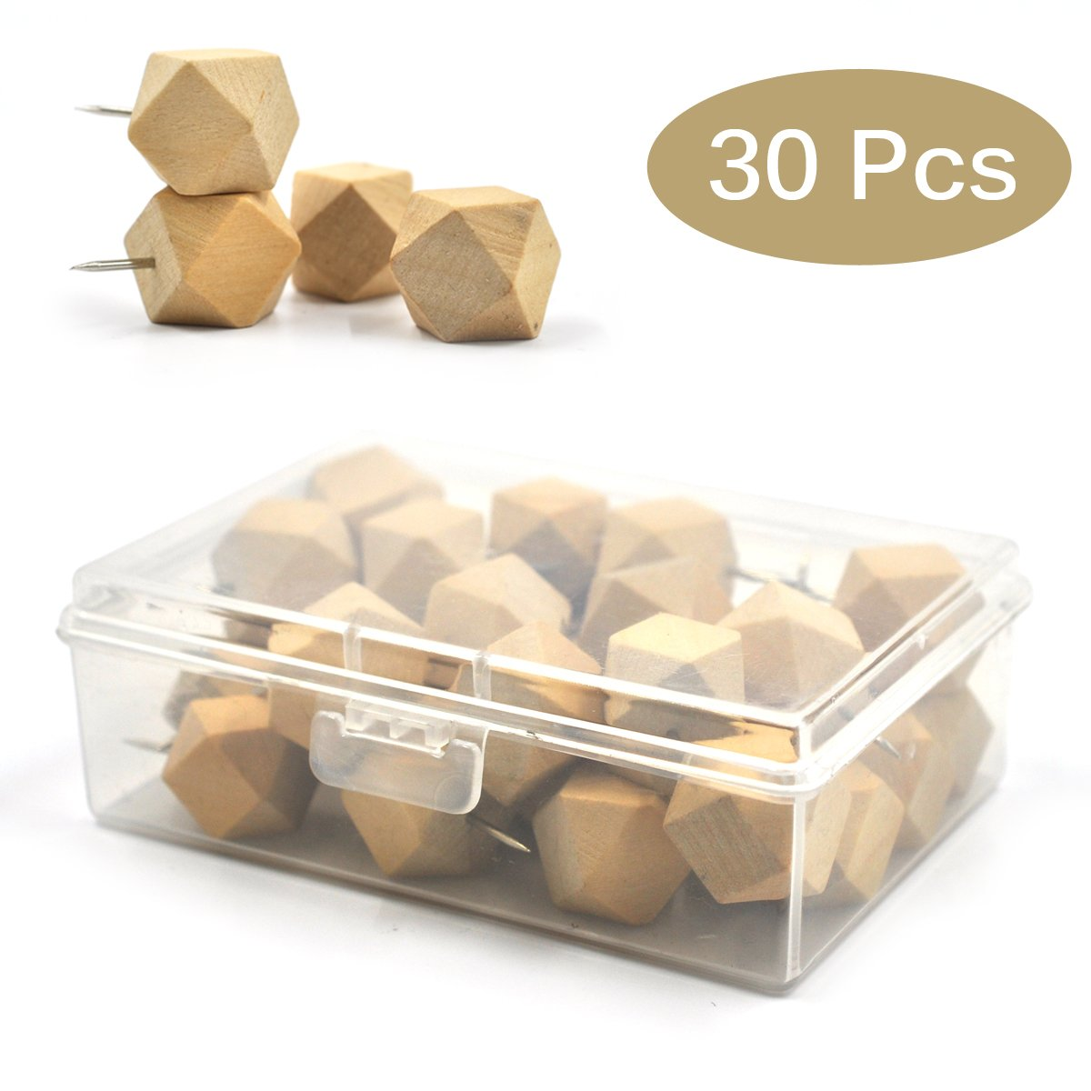 eZAKKA 30Pieces Push Pins Geometric Wood Wooden Thumb Tacks Decorative for Cork Boards Map Photos Calendar with Box