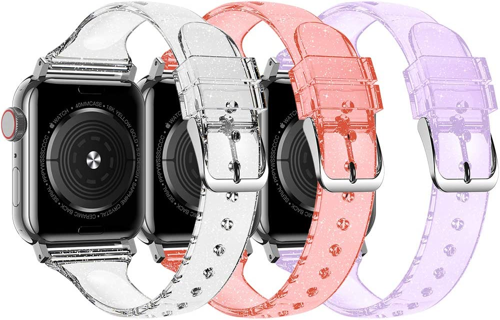 Baozai Compatible with Slim Apple Watch Band 38mm 40mm, Soft Silicone Thin Glitter Sports Band for Apple iWatch Series 5, Series 4, Series 3/2/1 Women (G 3 Pack-Silver/Red/Purple, 38/40mm)