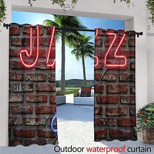 Blue Beach Decor 12' Sign (Tim1Beve Indoor/Outdoor Curtains Music Image of Alluring Neon All Jazz Sign with Saxophone on Brick Wall Print Design Decor for Porch&Beach&Patio 96