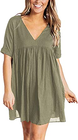 Hestenve Womens Short Sleeve V Neck Pleated Babydoll Solid Color Tunic Party Swing Mini Dress