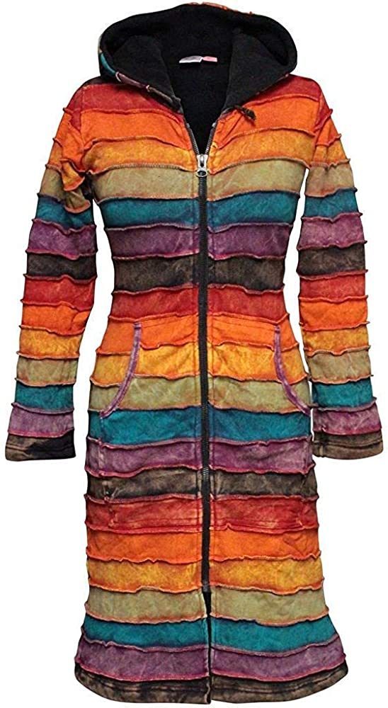 SHOPOHOLIC FASHION Women Patchwork Pixie Hooded Long Coat