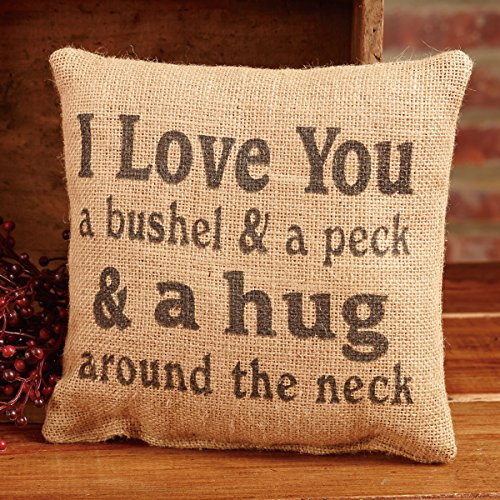 """Price comparison product image Country House Collection 8"""" x 8"""" Mini Burlap Pillow """"Bushel and a Peck"""
