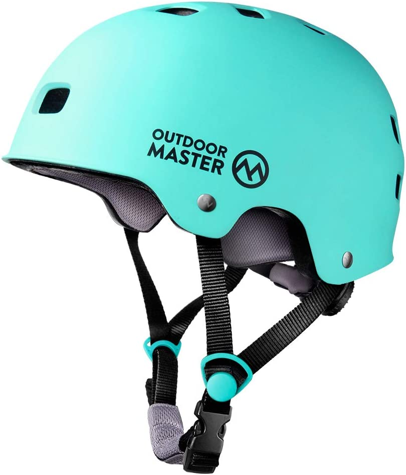 OutdoorMaster Skateboard Helmet Mint Green 12 Vents Ventilation System Youth /& Adults M ASTM /& CPSC Certified Lightweight Skate with Removable Lining for Kids