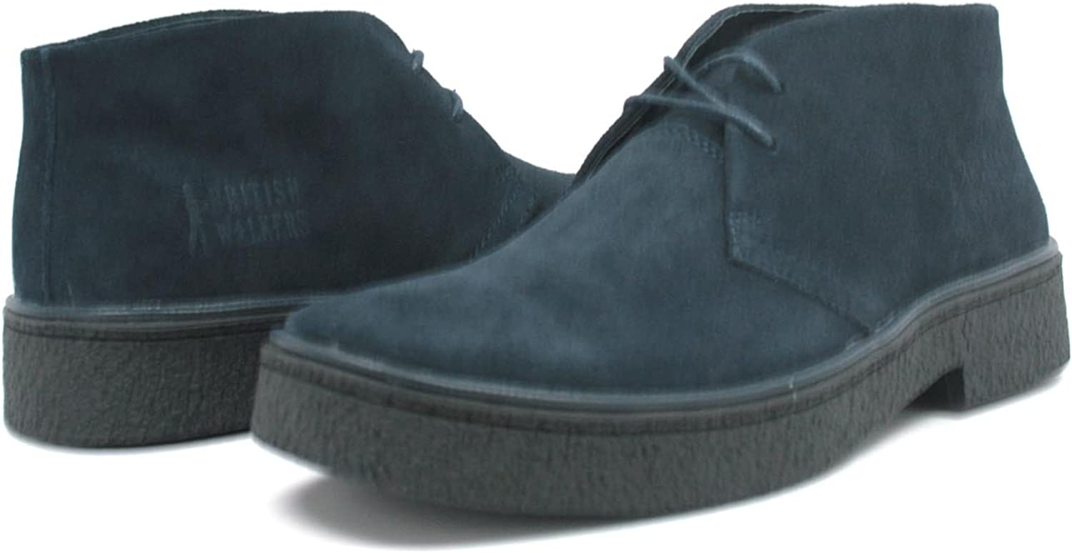 British Walkers Playboy Men/'s Black Leather Ankle Boots