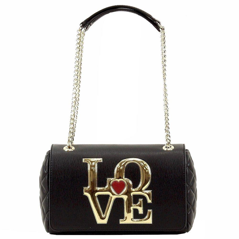 Love Moschino Women's Love Block Flap Over Black Leather Satchel Handbag
