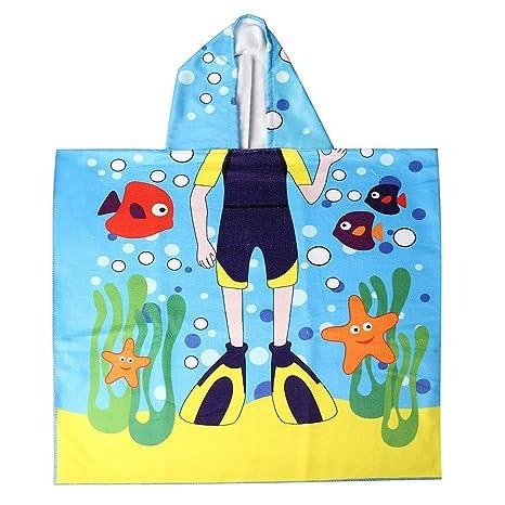 nuosen - Toalla de Playa para niños, Toalla de baño con Capucha de Microfibra para