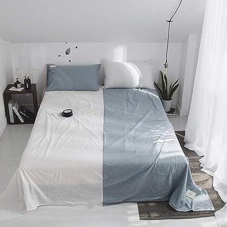 WDWDF Sábanas de Cama de 100% algodón, sábana encimera Doble, tamaño Queen, Color Blanco y Gris, para Dormitorio Universitario: Amazon.es: Hogar