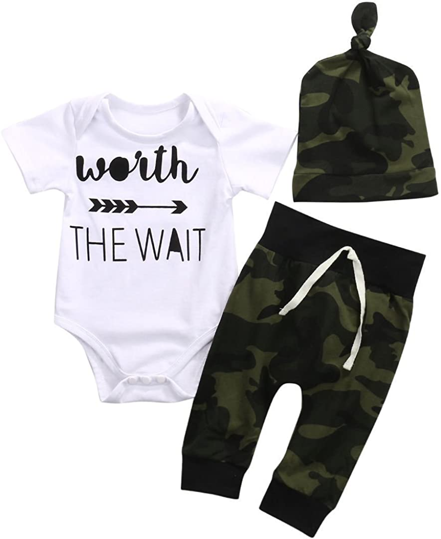 3Pcs/Set Newborn Infant Baby Boy Short Sleeve Romper+Camouflage Pants with Hat Outfit Clothes