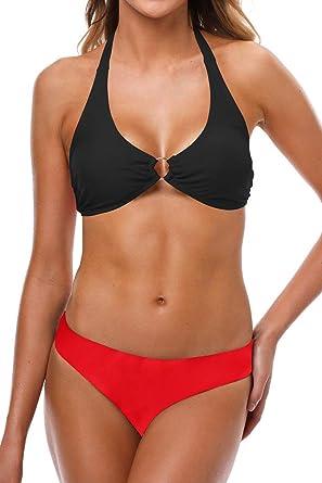 f7f3eb414674a Two Piece Swimsuits for Women Bikini Swimwear Womens Bathing Suits Halter  Lace up Bikini Set  Amazon.co.uk  Clothing