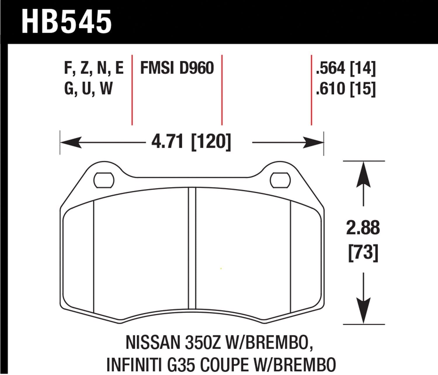 Front Hawk Performance HB609G.572 Disc Brake Pad