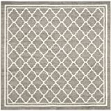 Safavieh Amherst Collection AMT422R Dark Grey and Beige Indoor/ Outdoor Square Area Rug (7' Square)