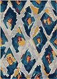 "Well Woven Watercolor Ikat Blue Boho Area Rug 8×11 (7'10"" x 10'6″) Soft Plush Modern Vintage Tribal Lattice Carpet Review"