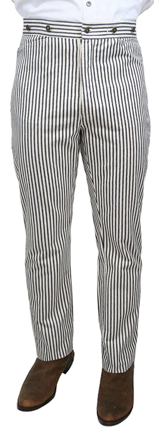 Men's Steampink Pants & Trousers  High Waist Summerhill Cotton Striped Trousers $56.95 AT vintagedancer.com