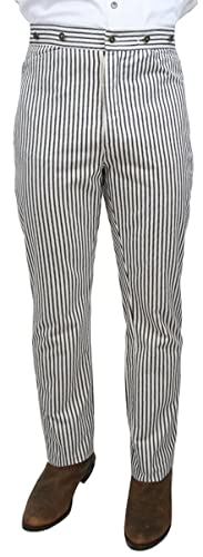 Edwardian Men's Pants Historical Emporium Mens High Waist Summerhill Cotton Striped Trousers $56.95 AT vintagedancer.com