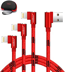 Mfi Certified vodbov iPhone Charger Right Angle 3pack (4/6/10ft) Braided Lightning Cable red Compatible with iPhone 12/11 Pro/11 Pro Max/XR/X/8/8 Plus/7/iPad EVA Hard Travel Carrying Case