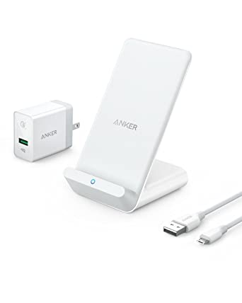 Anker PowerWave 7 5 Fast Wireless Charging Stand with Internal Cooling Fan,  Qi-Certified, 7 5W Compatible iPhone XR/XS Max/XS/X/8/8 Plus, 10W Charges