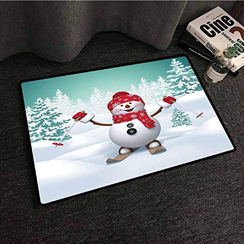 (Non-Slip Modern Carpet Christmas,Snow Covered Mountain with Fir Trees and Skiing Snowman Fun Holiday Activity,Teal Red White,W24