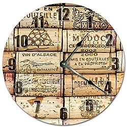 10.5 WINE CORK STACK Clock - Large 10.5 Wall Clock - Home Décor Clock