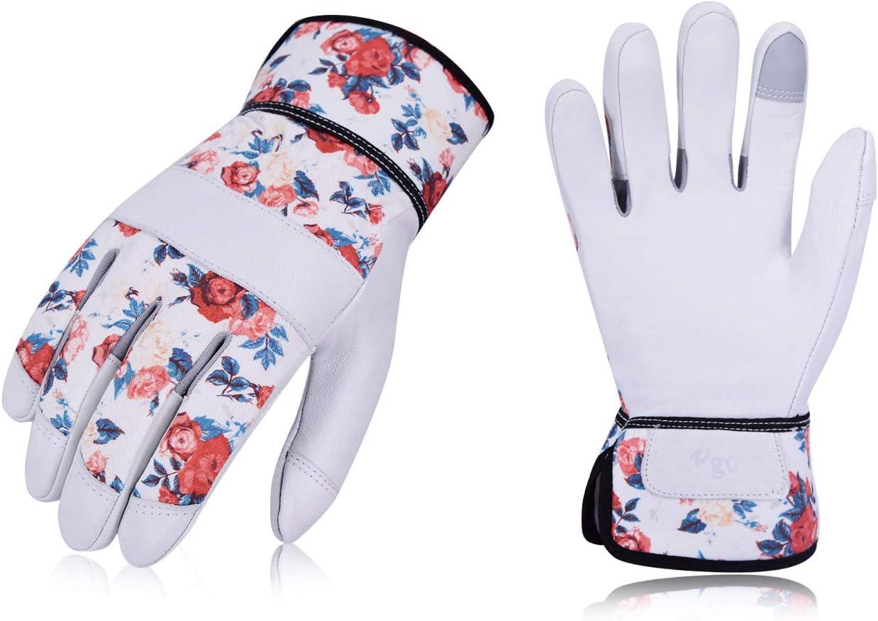 Weibliche Handschuhe Gartenarbeitshandschuhe mit Soften Ziegenlederpalmen 1 Paar, 8//M, Wei/ß, GA3561 Vgo Garten- und Arbeitshandschuhe