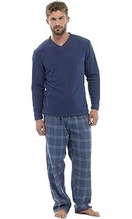 Pijama de invierno largo de franela de 2 piezas para hombre, varias tallas