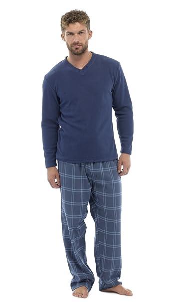 Pijama de invierno largo de franela de 2 piezas para hombre, varias tallas Blau - Blue Check XX-Large : Amazon.es: Ropa y accesorios