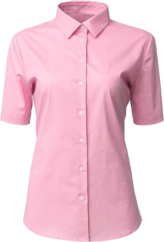 Amazon Com Horse Secret Womens Dress Shirts Basic Short Sleeve Slim Fit Casual Button Up Shirt Stretch Formal Shirts Blouses Clothing