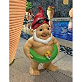 Garden Gnome Statue – Pool Party Pete Naked Gnome – Outdoor Garden Gnomes – Funny Lawn Gnome Statues
