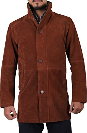 1502774 Laverapelle Mens Genuine Cow Suede Leather Coat Black, Officer Coat