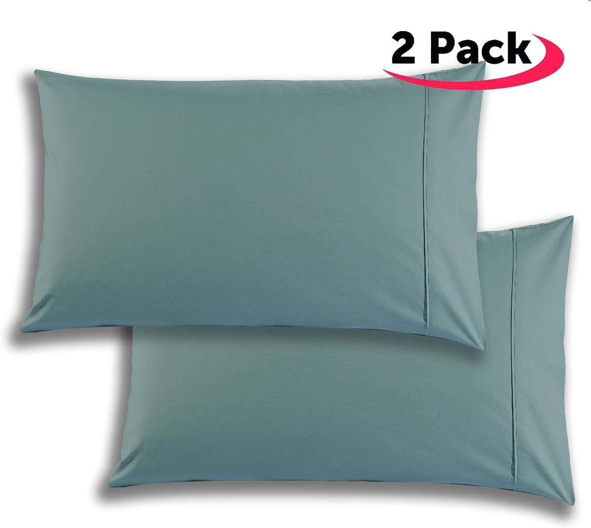 Mellanni 100% Cotton Pillowcase Set - 300 Thread Count Percale - Quality Luxury Bedding (Set of 2 King Size, Gray)