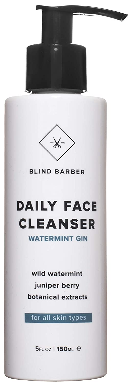 Blind Barber Watermint Gin Face Wash - Cooling Gel Cleanser for Men, All Skin Types (5oz / 150ml)