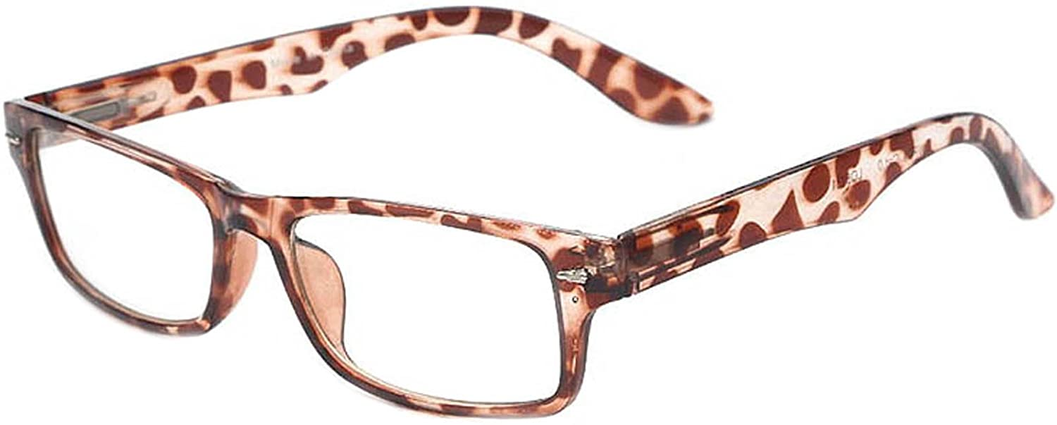 c63d9855050 Amazon.com  Retro Fashion Style Narrow Rectangular Frame Clear Lens  Eyeglasses ( Leopard Brown