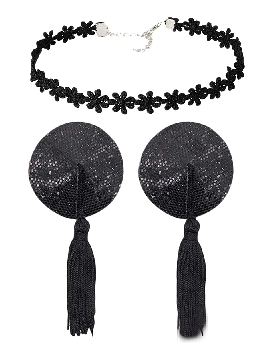 Avivnor Tassels Sequin Nipple Cover /& Lace Clavicle Necklace For Masquerade